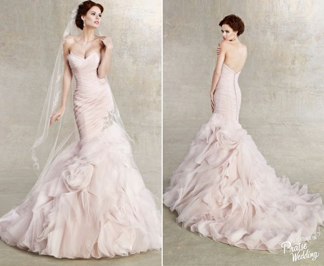 Gorgeous Blush Ruffled Mermaid Gown