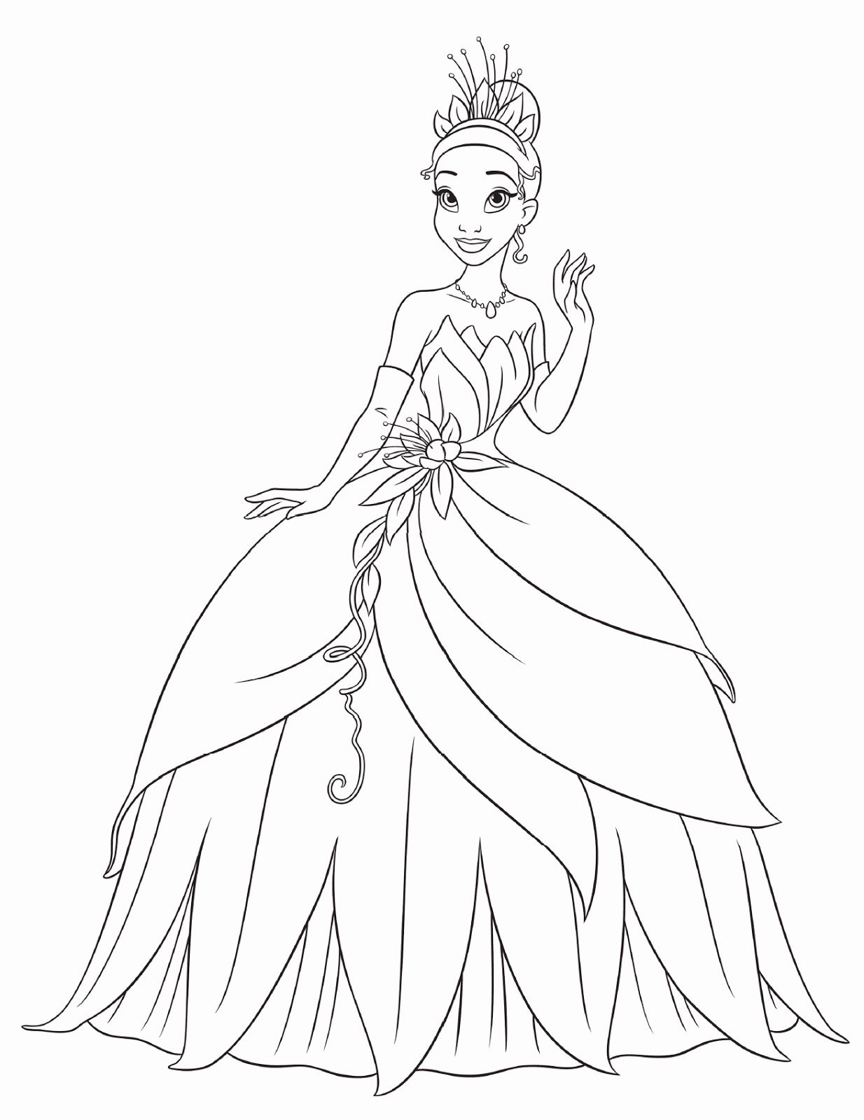 Princess Tiana Coloring Pages For Kids 1234×1600 Disney