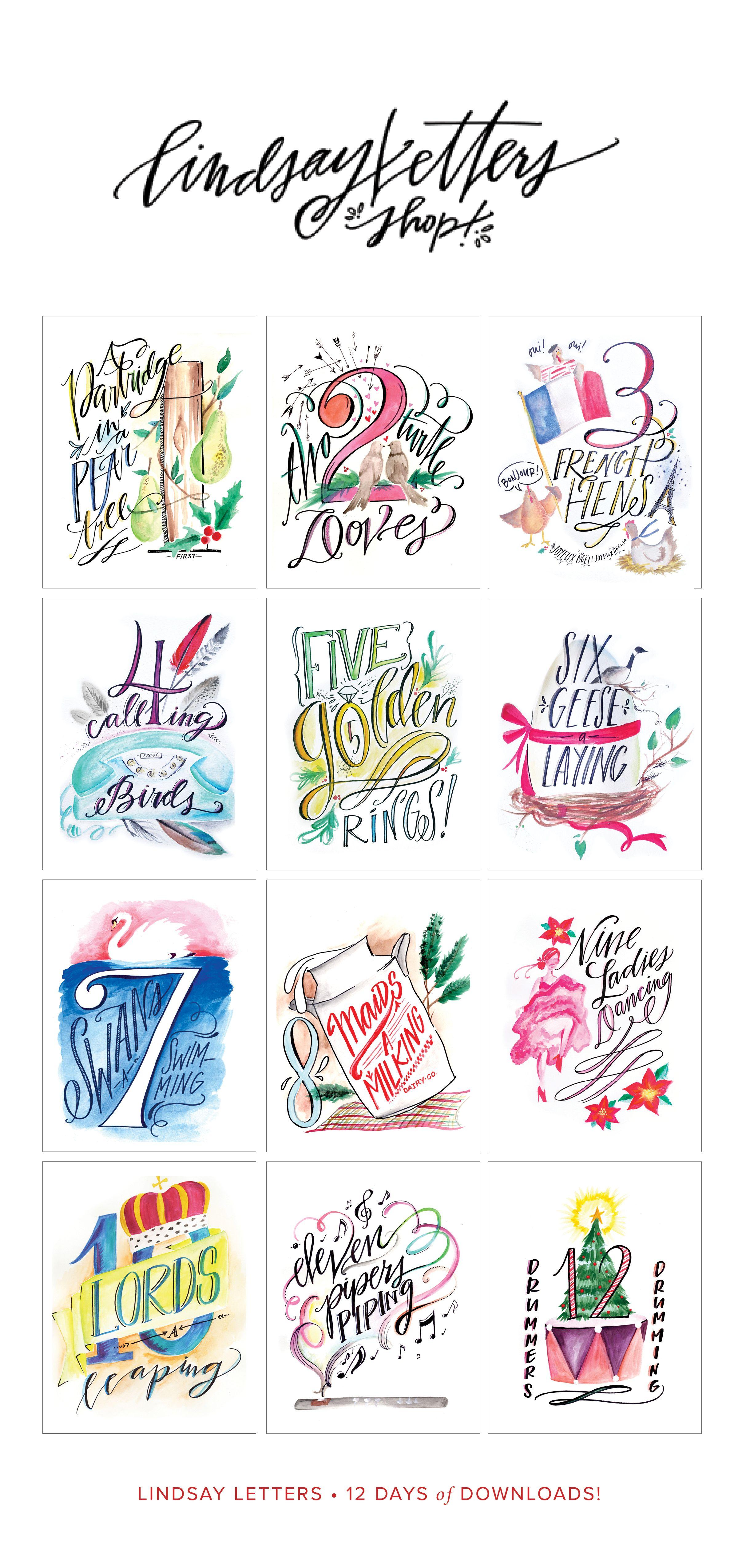 Lindsay Letters 12 Days Of Christmas Printables