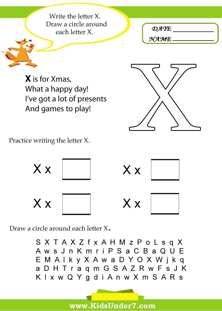 Kids Under 7 Letter X W Ksheets School P Terest