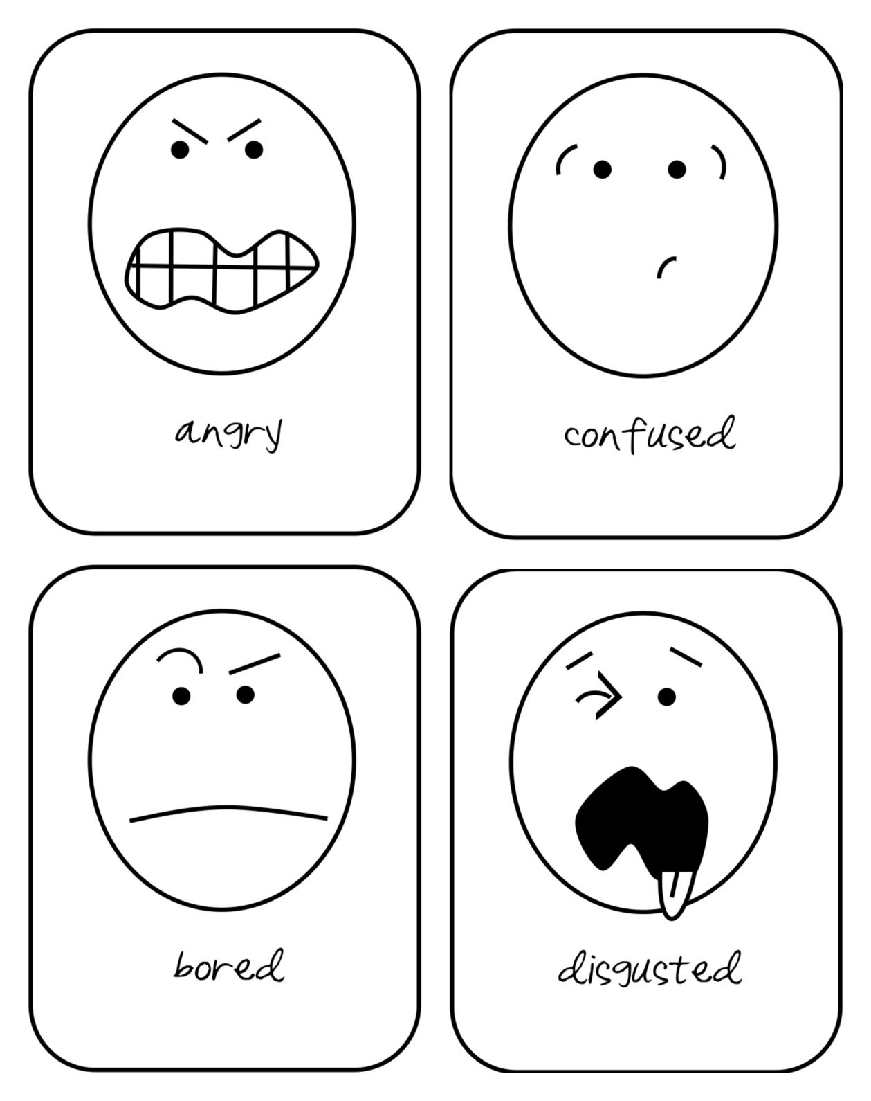 Emotion Flash Cards Printable For Toddlers