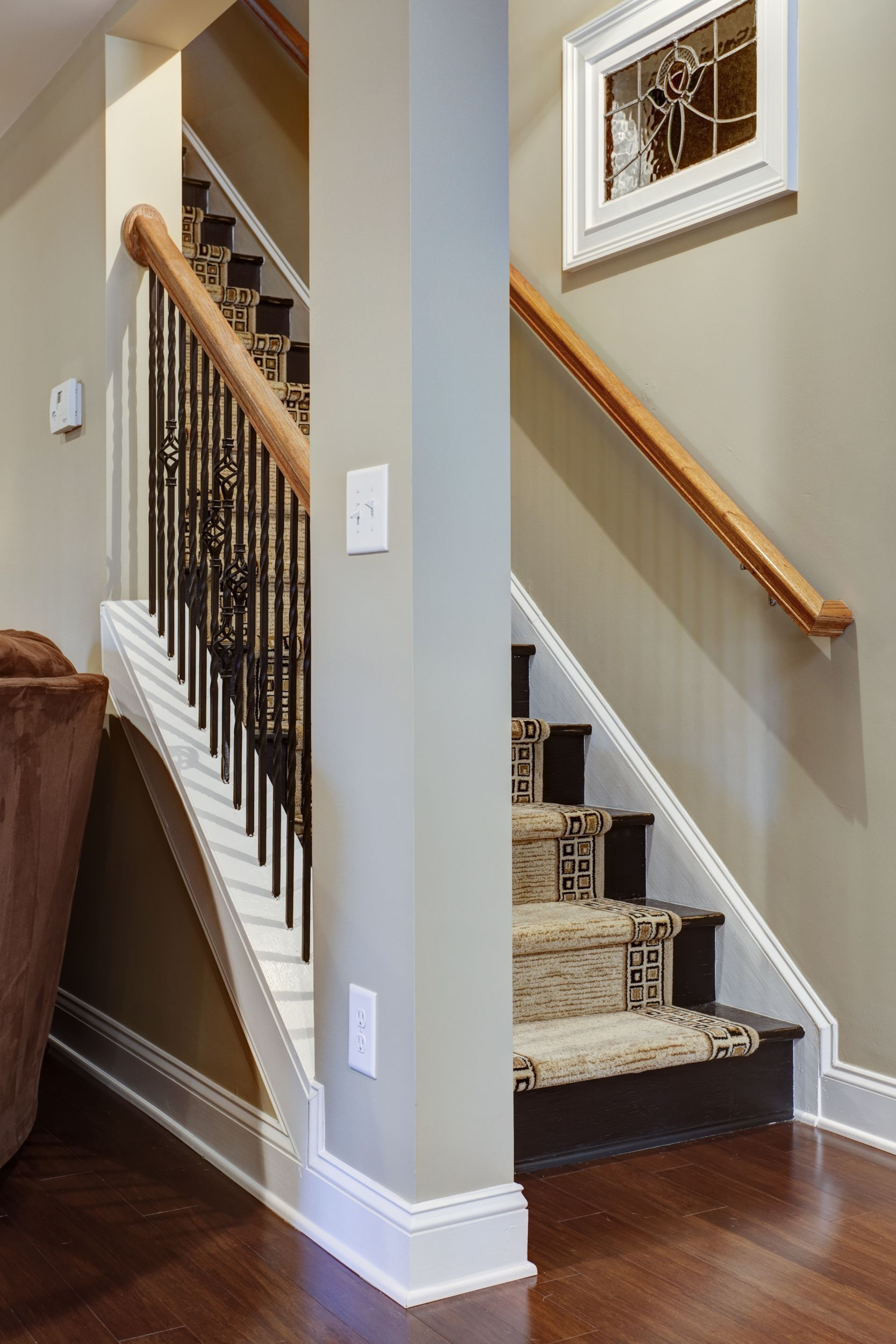 DIY inexpensive stairs in basement. These stairs are