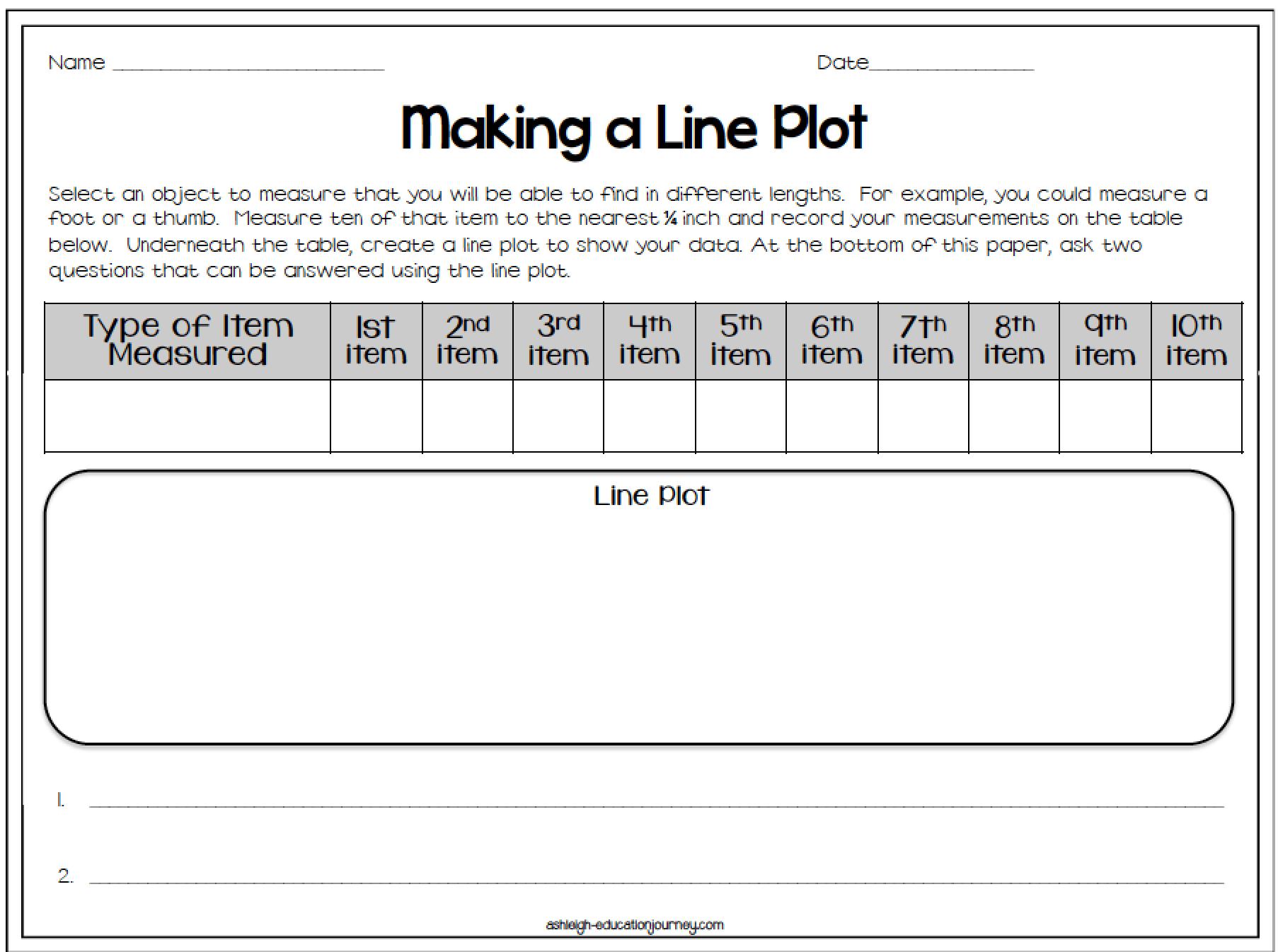 Create Line Plot Worksheet