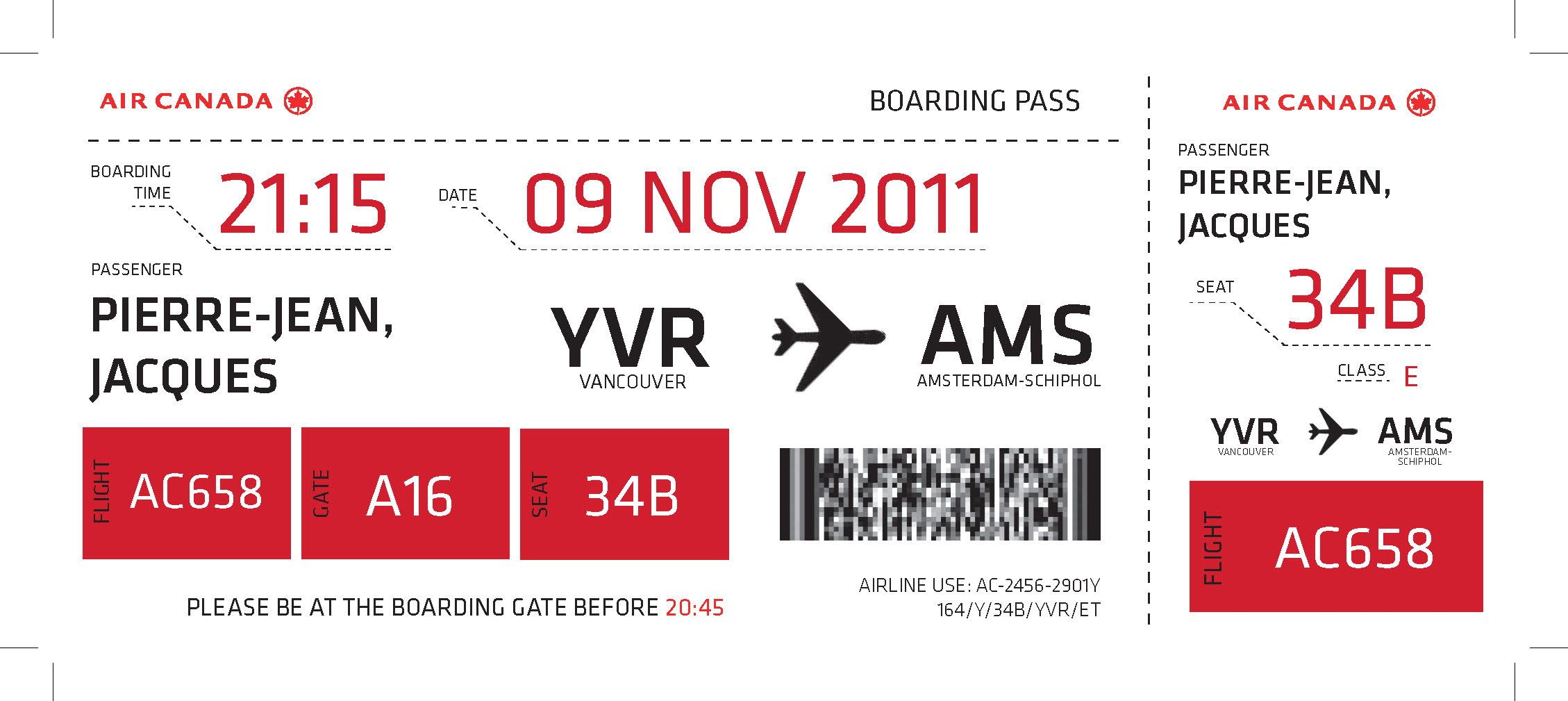 Air Canada Boarding Pass