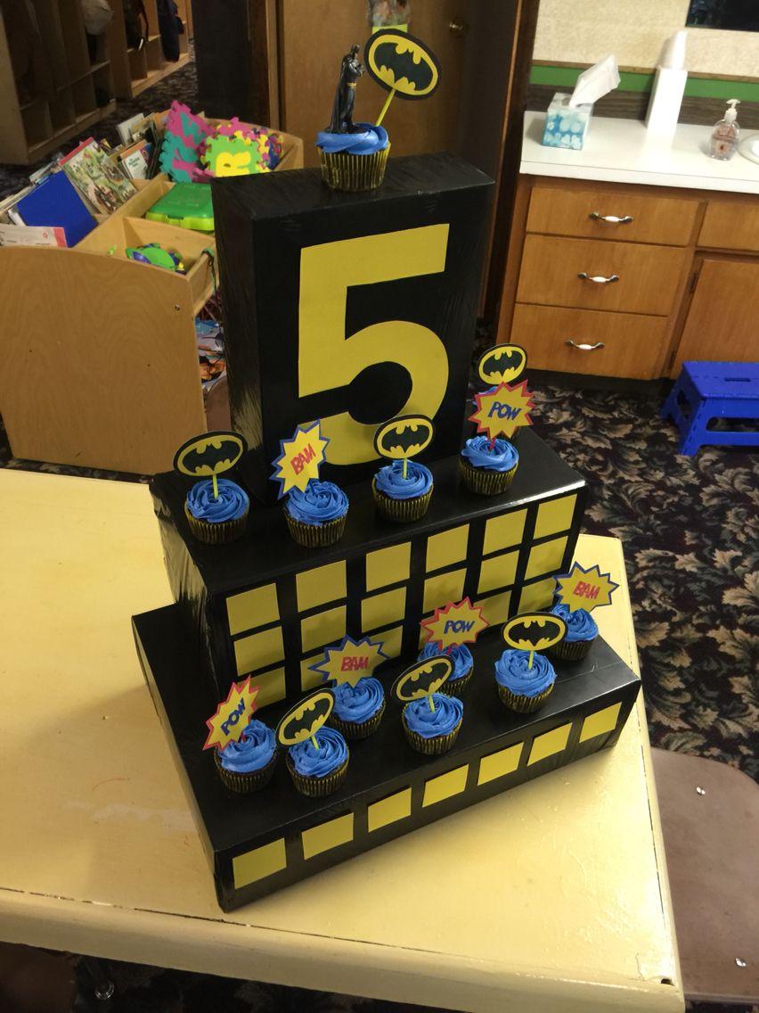 batman cupcake display 5 years old for Preston's birthday