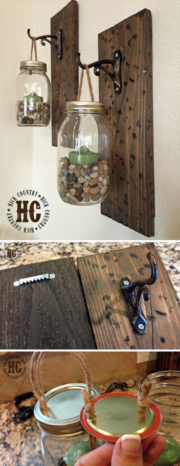 Rustic DIY Mason Jar Wall Lanterns…make similar but put faux flowers in instead