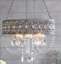 Shabby French Chic Candelier Crystals Drop Silver Grey New