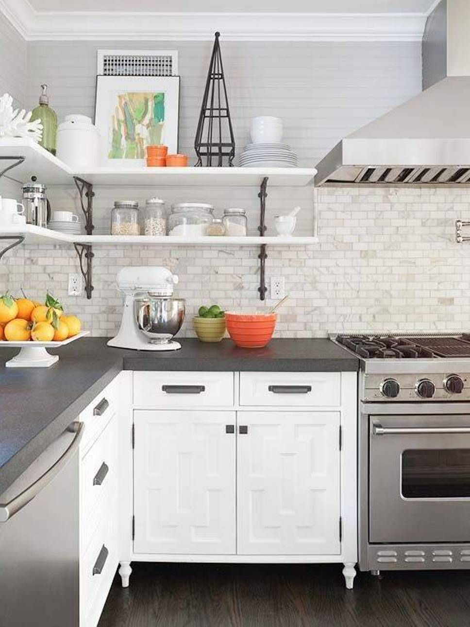 Countertop Color In Grey And White Kitchen for