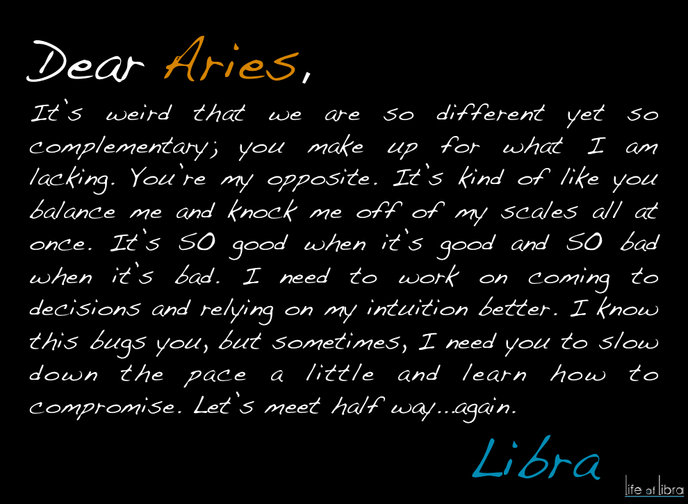 Dear Aries. from , Libra Things I