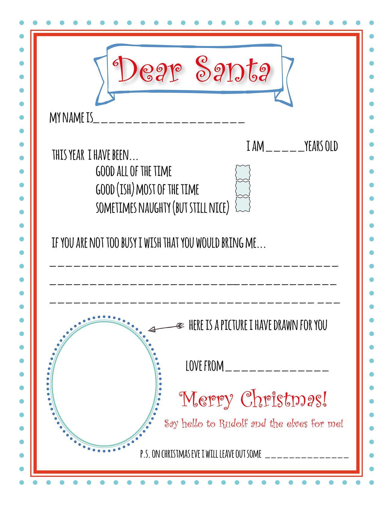 Santa Letter Printable Template Santa letter printable