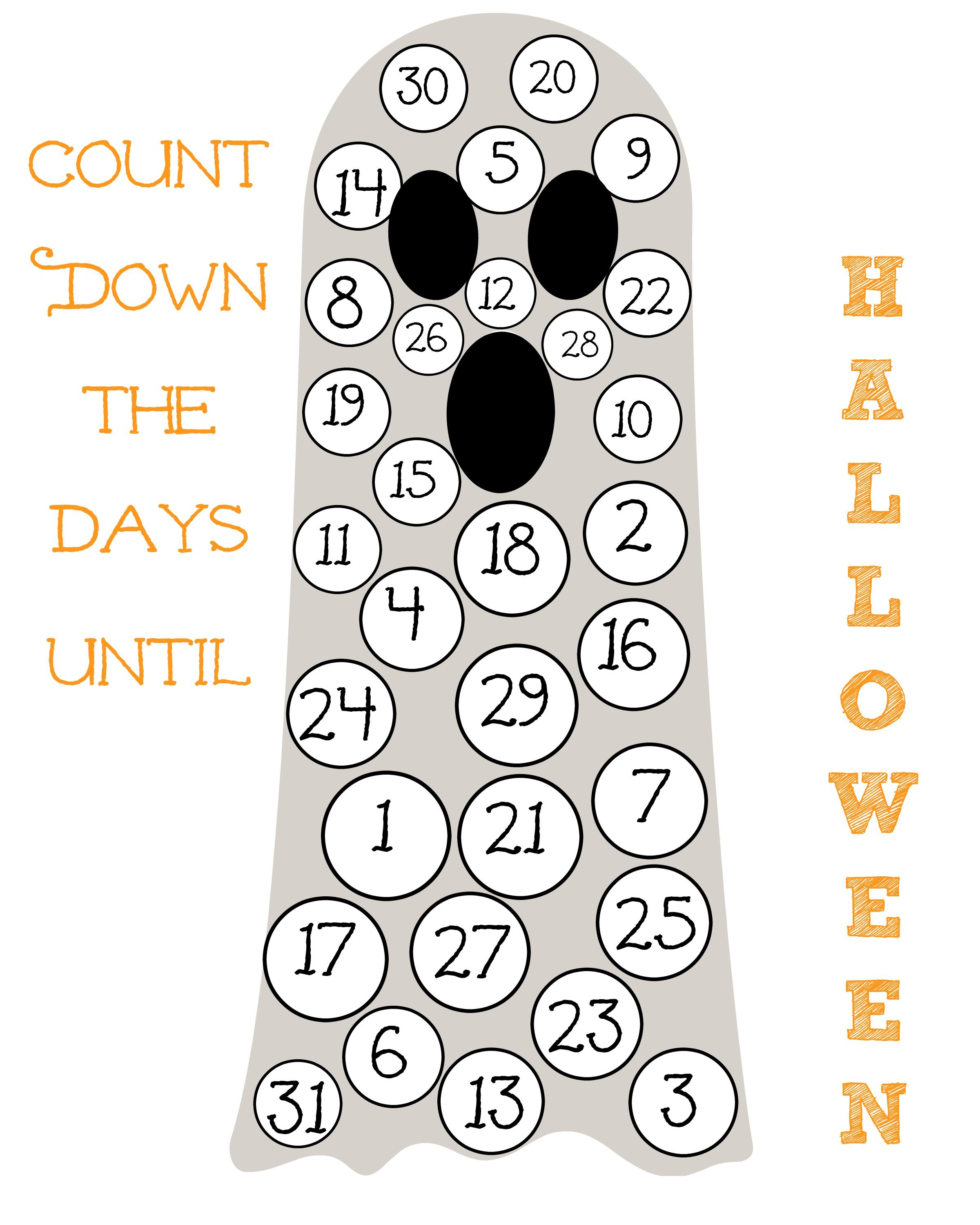 Free Printable Halloween Calendar For Kids