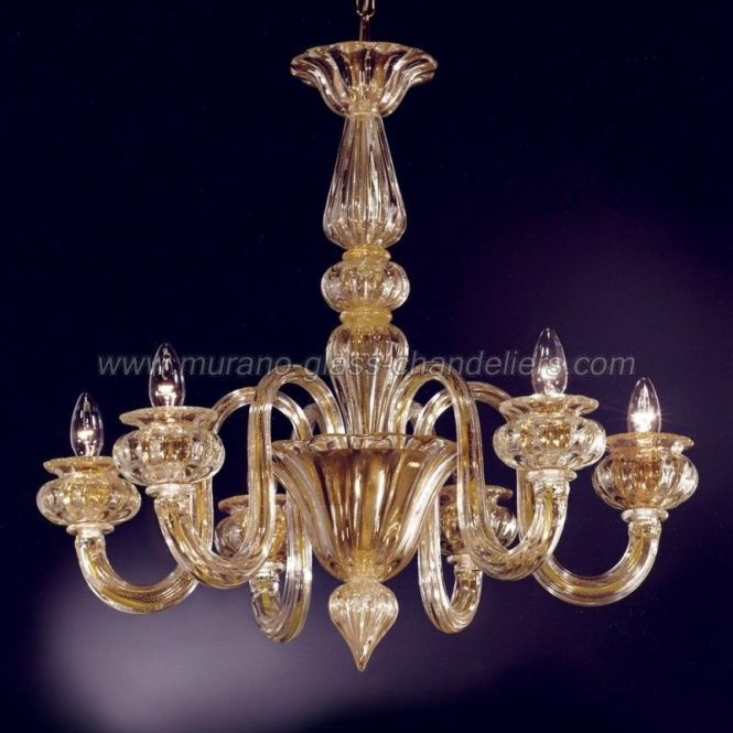 Giudecca 6 Lights 24k Gold Murano Glass Chandelier