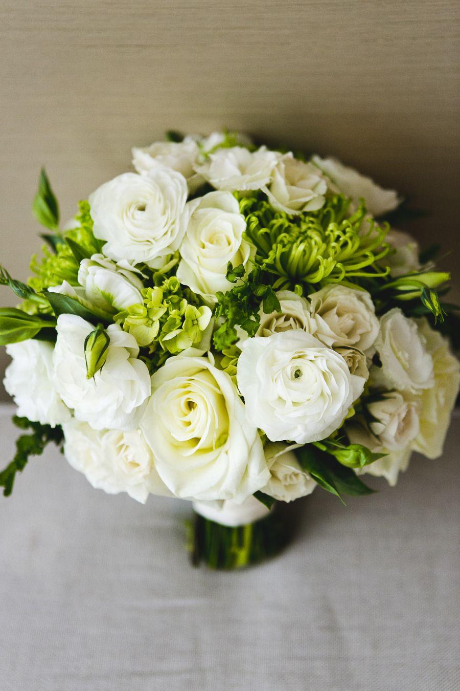 Urban Chic Chicago Wedding White rose bouquet, Urban