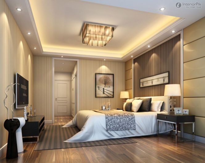 Modern Master Bedroom Design Ideas With Luxury Lamps White Bed Wall Slim Tv