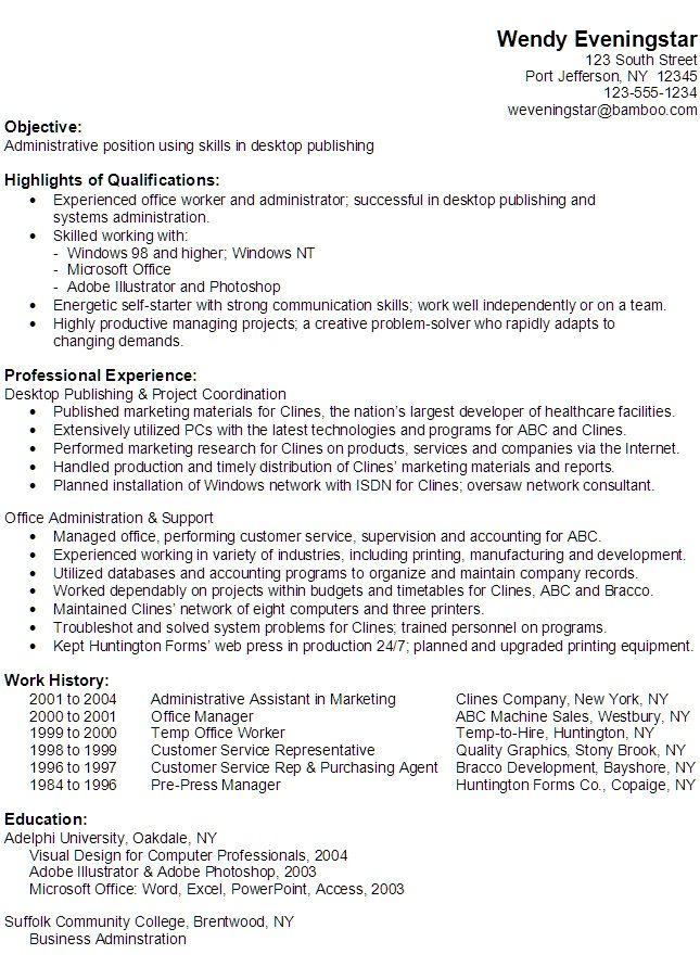 Computer Skills Resume Administrative Assistant 751