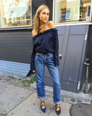 Image result for Low-Slung Boyfriend Jeans Are Still a Must For Pernille, Who Tucks in Her Tee Instead of Letting It Hang Loose