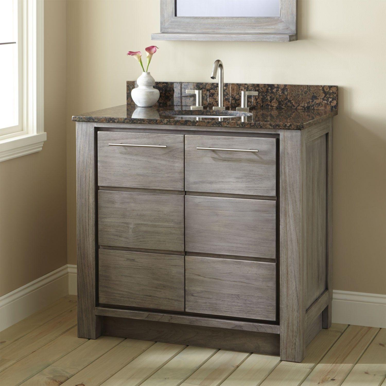 "36"" Venica Teak Vanity for Undermount Sink Gray Wash"
