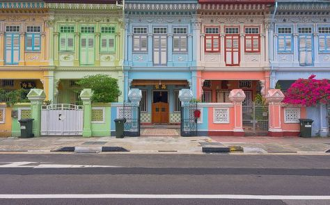 Traditional terraced Peranakan townhouses.