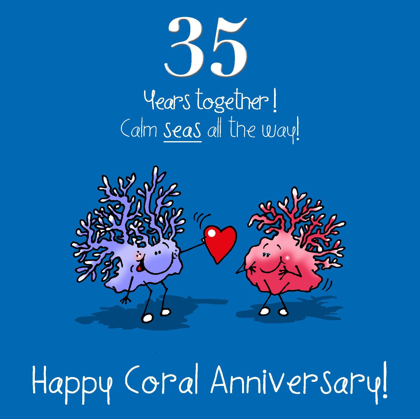 35th Wedding Anniversary Greetings Card Coral