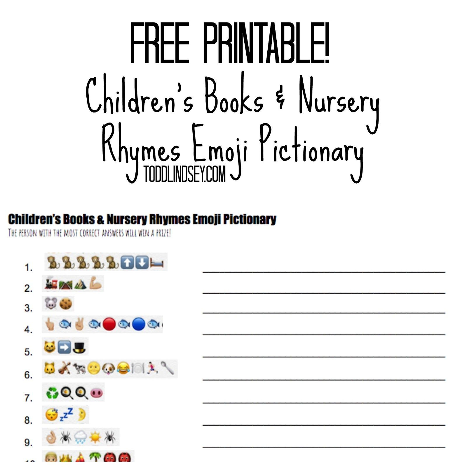Free Printable Children S Books Amp Nursery Rhymes Emoji