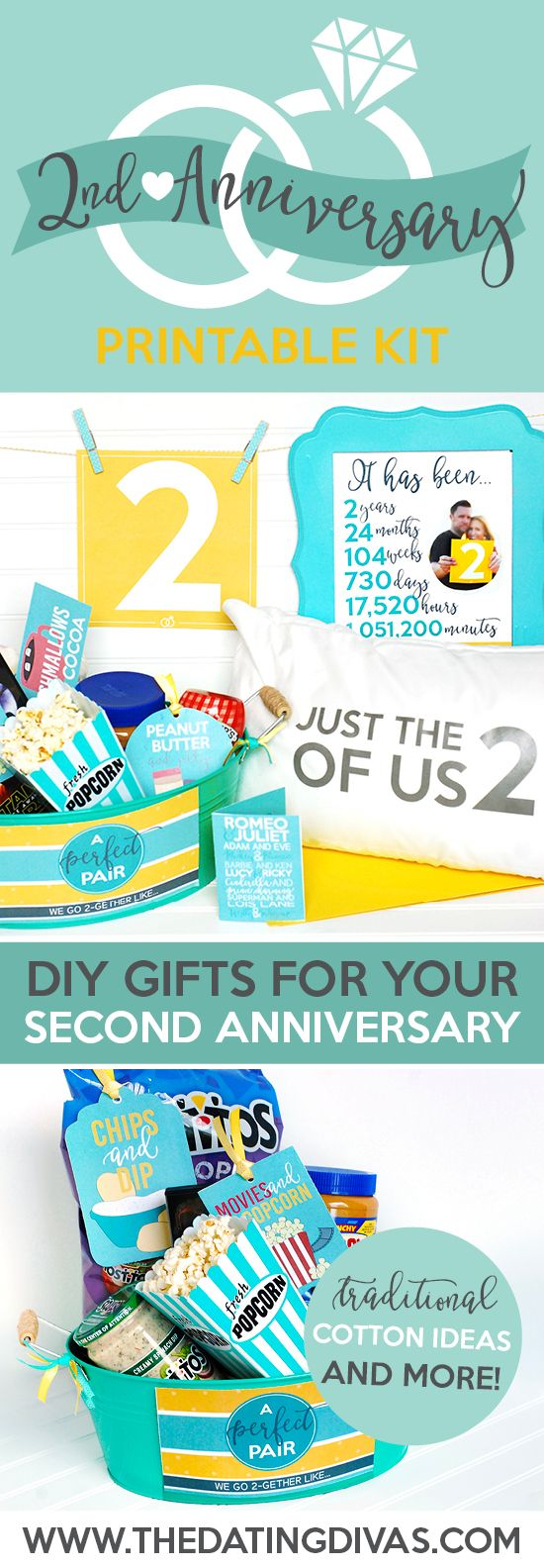 Second Anniversary Gift Printable Kit Anniversary gifts