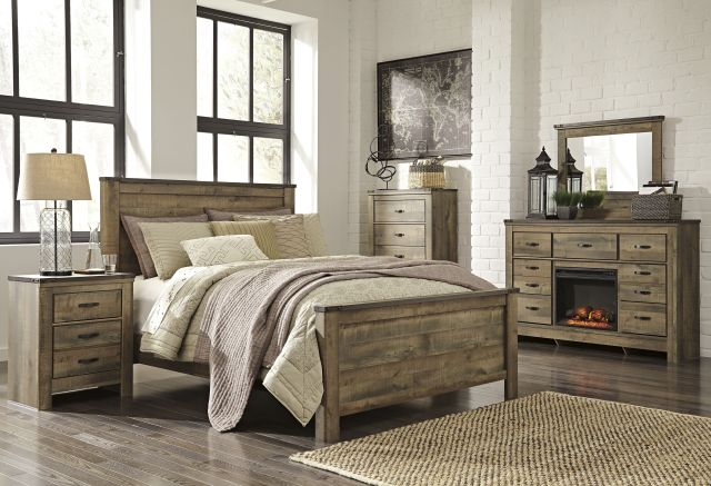 Ashley B446 32 Trinell Dresser with Fireplace Option Industrial