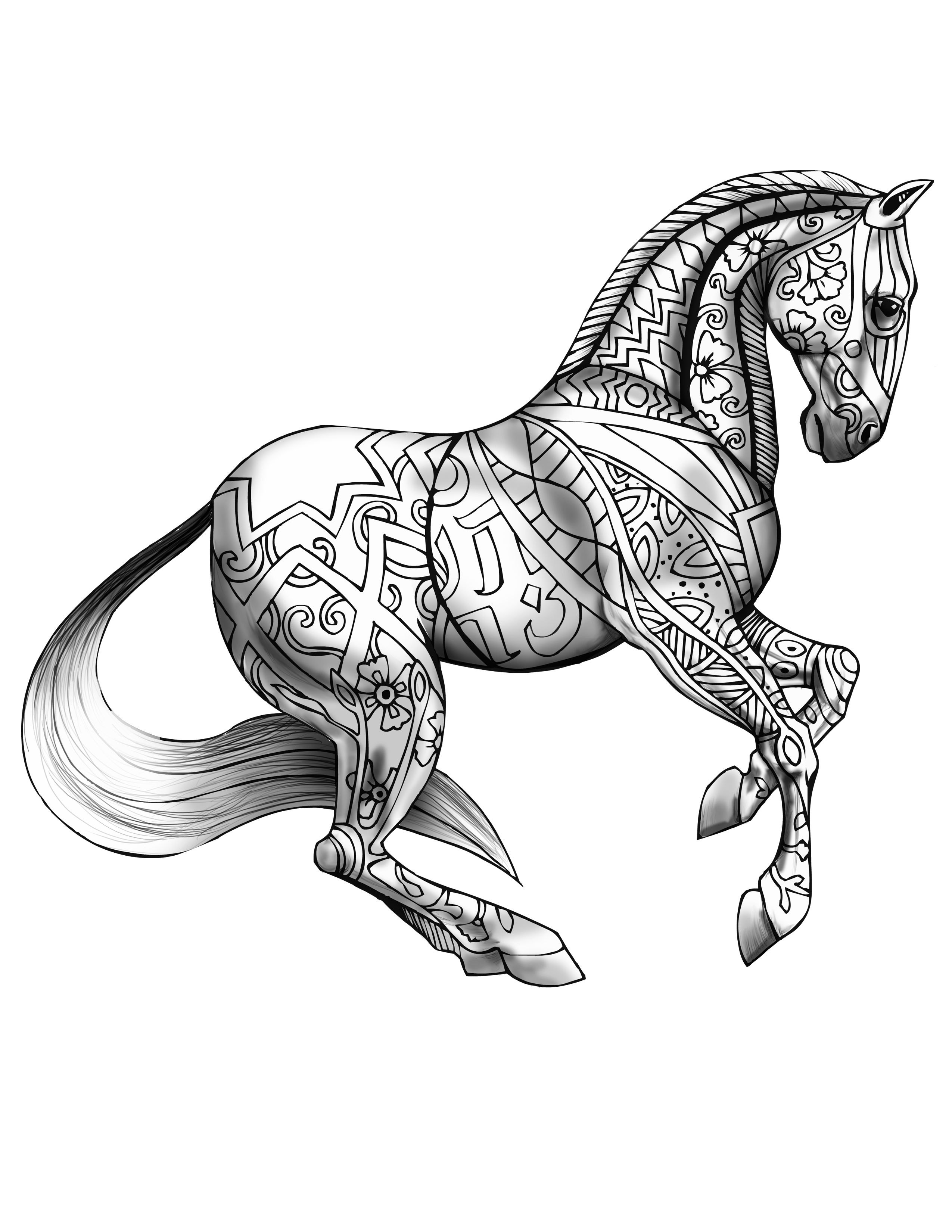 free printable coloring page with realistic horses coloring free ...