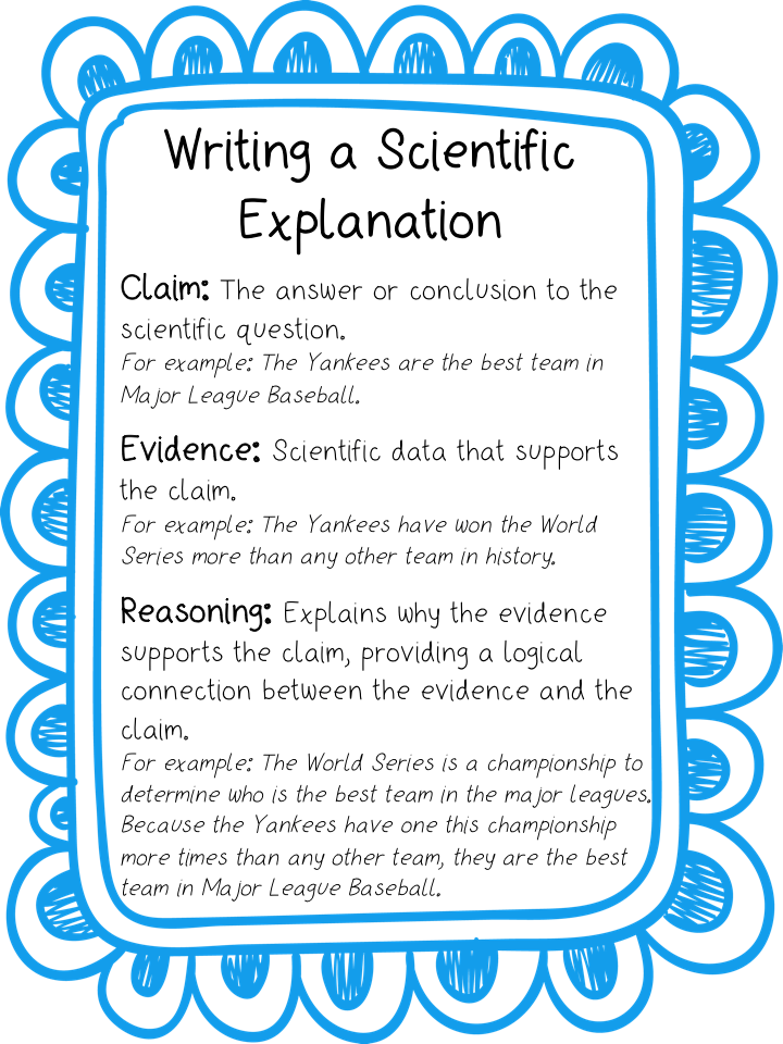 Writing a scientific explanation using the claim, evidence