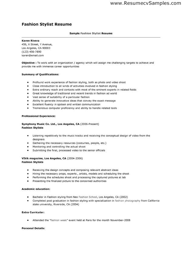 assistant hair stylist resumes template
