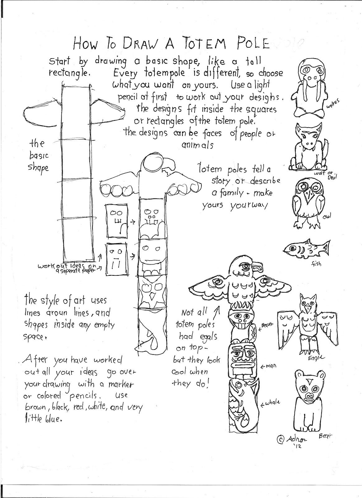 How To Draw A Totem Pole Printable Worksheet