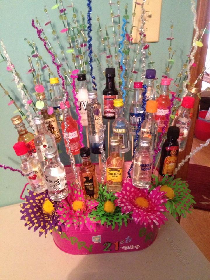 Cute Idea! 21st birthday alcohol basket. Party