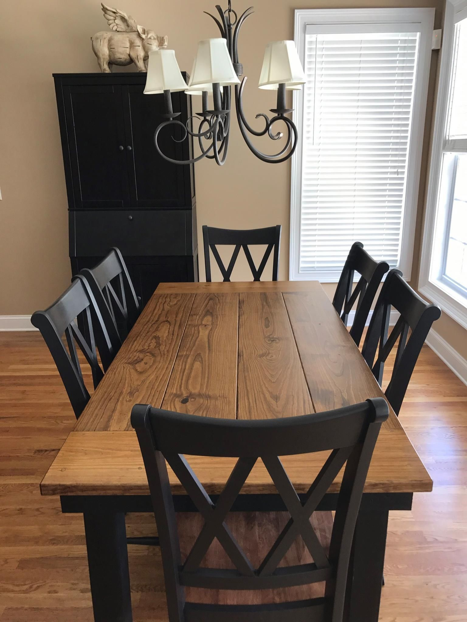 "This 6' x 37"" Farmhouse Table in Early American stain on"