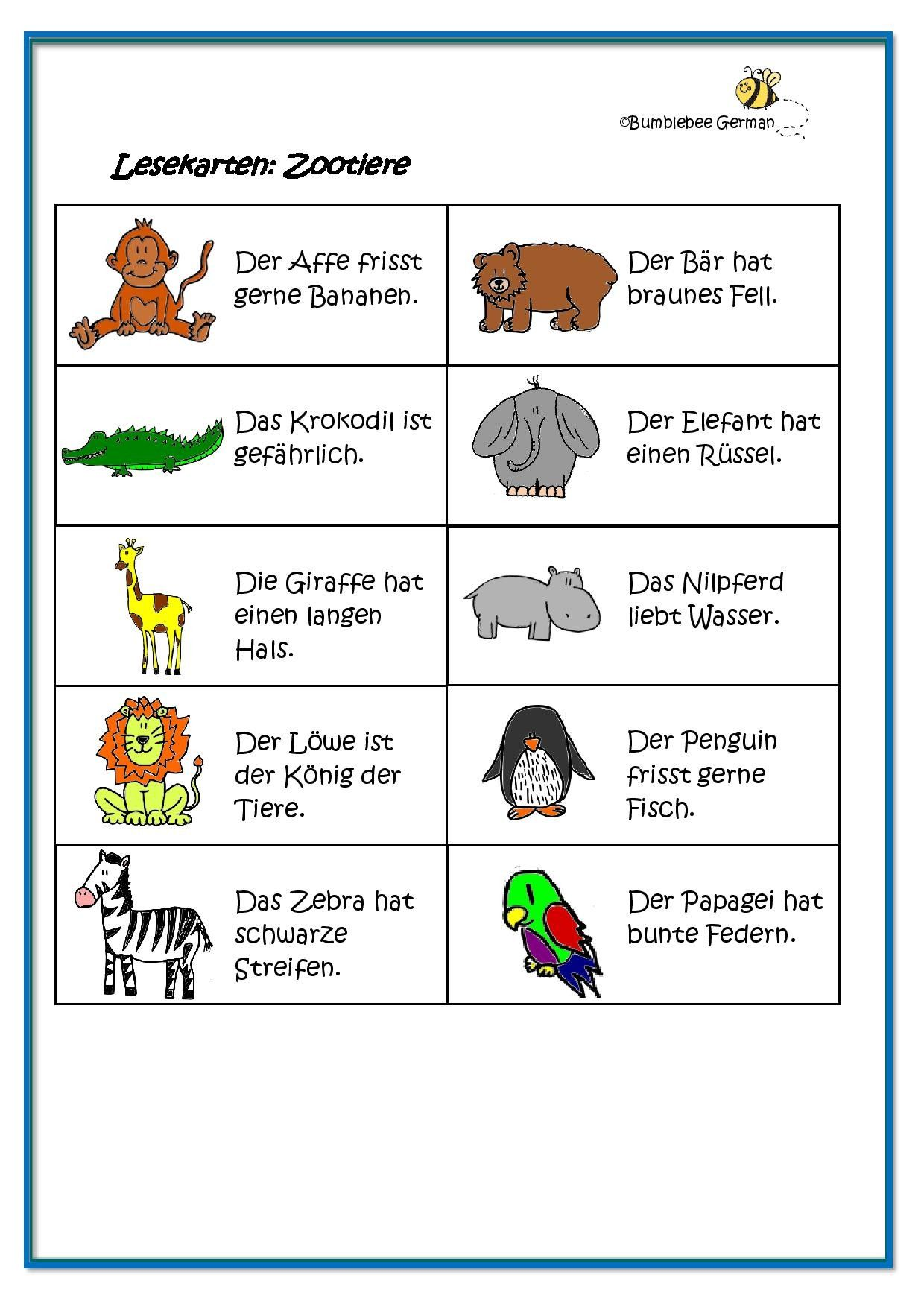 Worksheet German For Kids Zoo Animals Zootiere Lesekarten Reading Cards