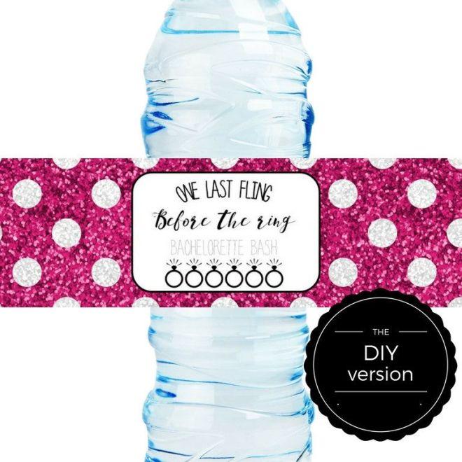 Diy water bottle label template bachelorette bash 8 x 2
