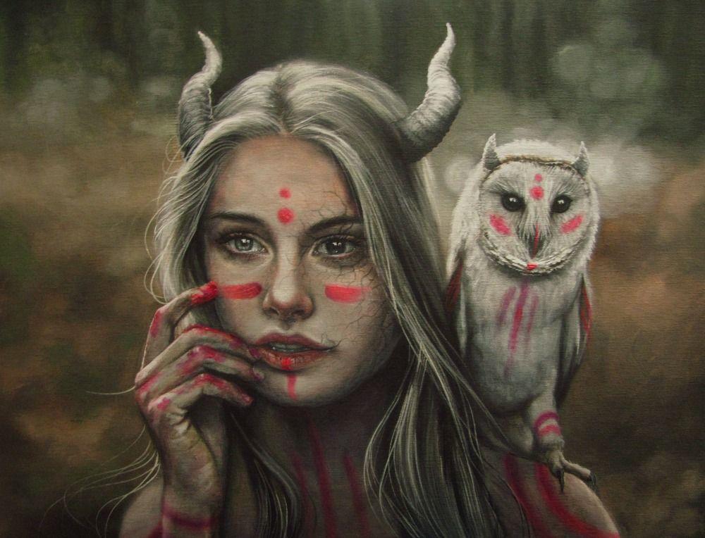 Pink. By Gimmegammi Female Tiefling Druid Ranger Priestess