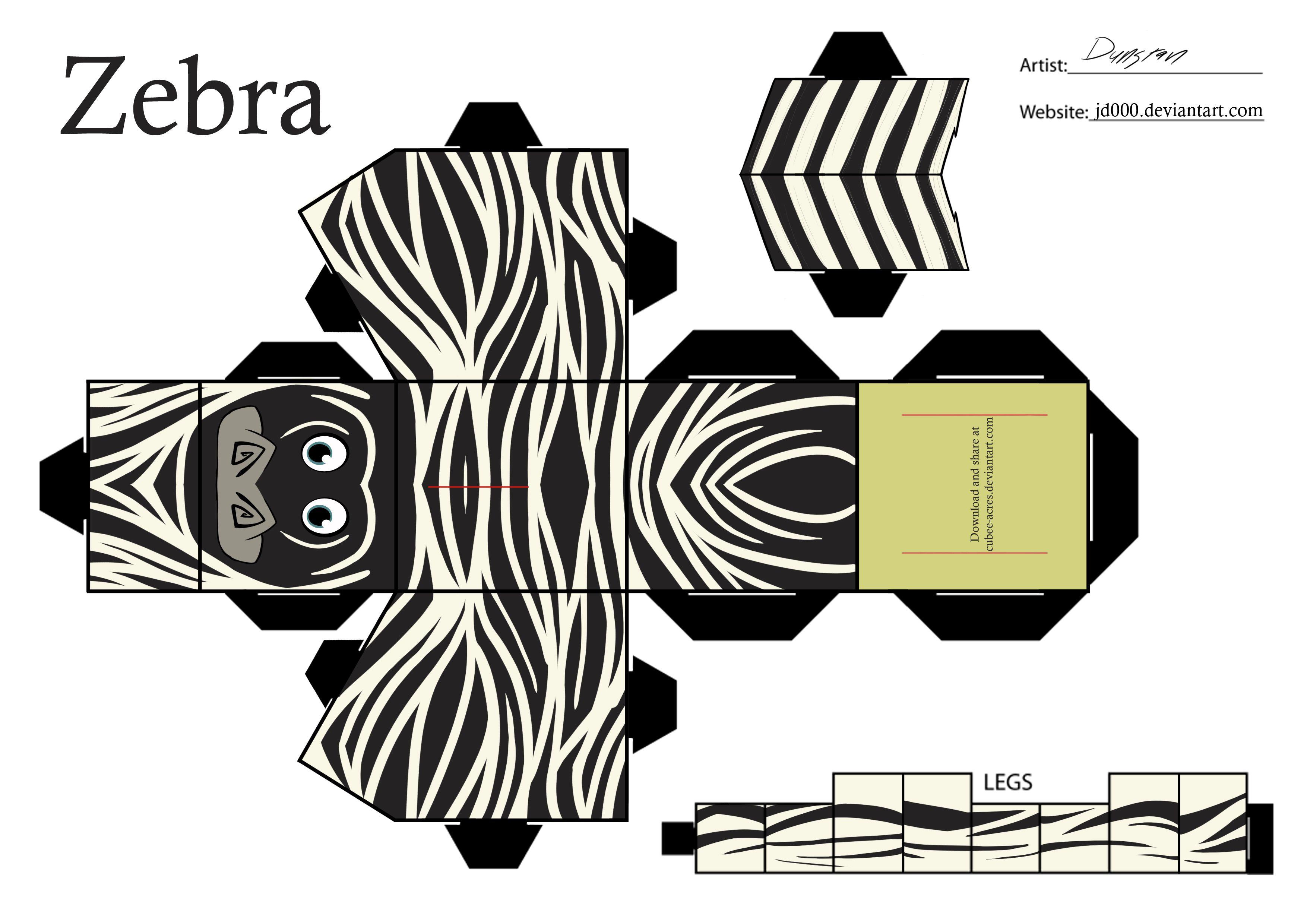 Printable Zebra Cube Craft To Print Zebra Paper Cut Out