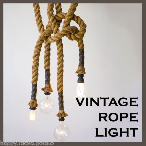 Vintage Edison Hemp Rope Pendant Light Chandelier E27 Nautical Cafe Restaurant