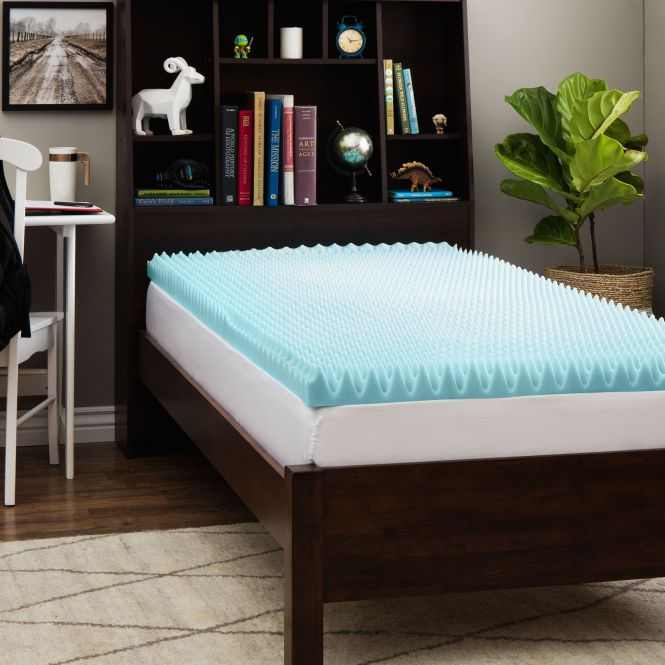 Slumber Solutions Dorm 3 Inch Textured Gel Memory Foam Mattress Topper