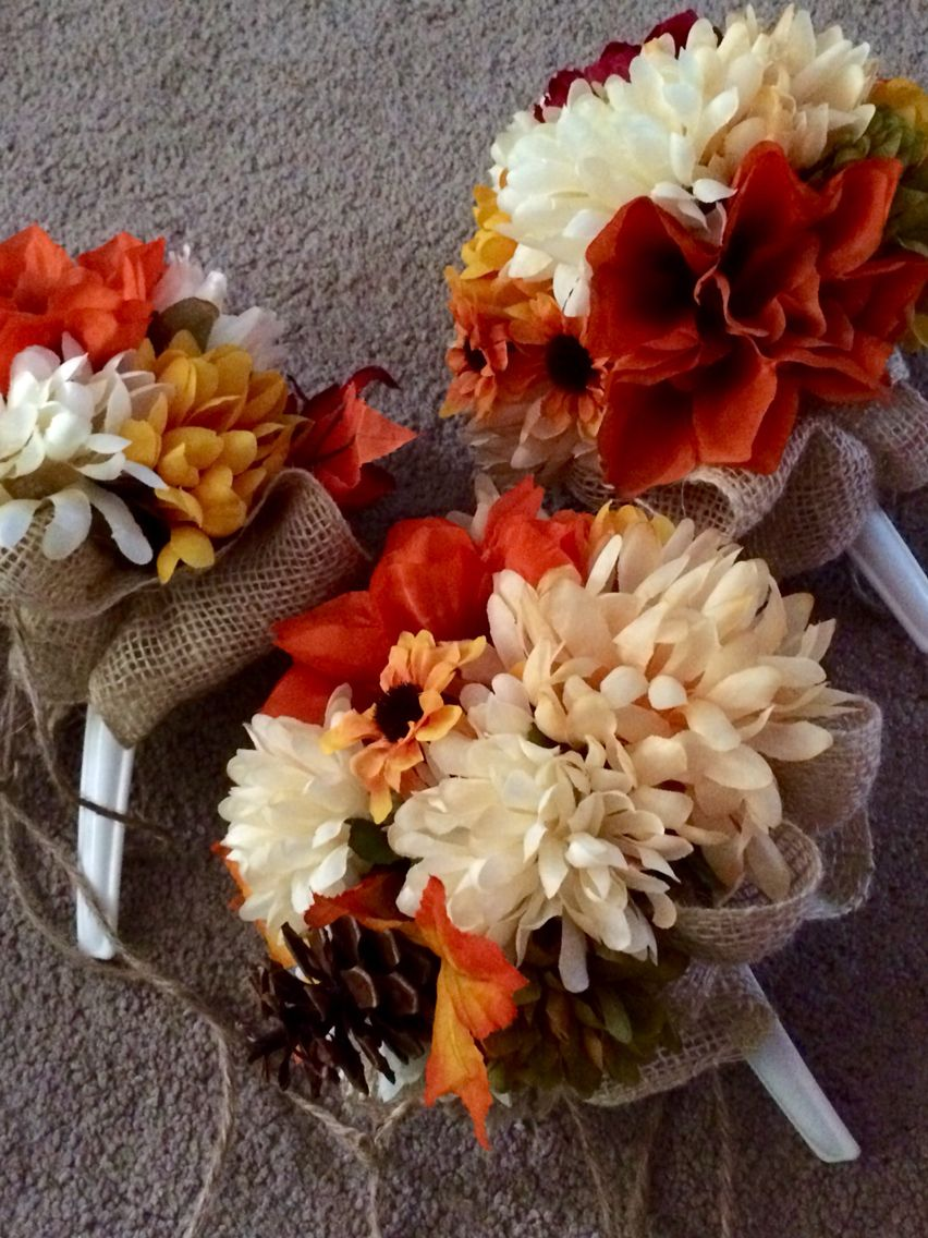 Diy bouquets fake flowers. Burlap and twine. Fall wedding