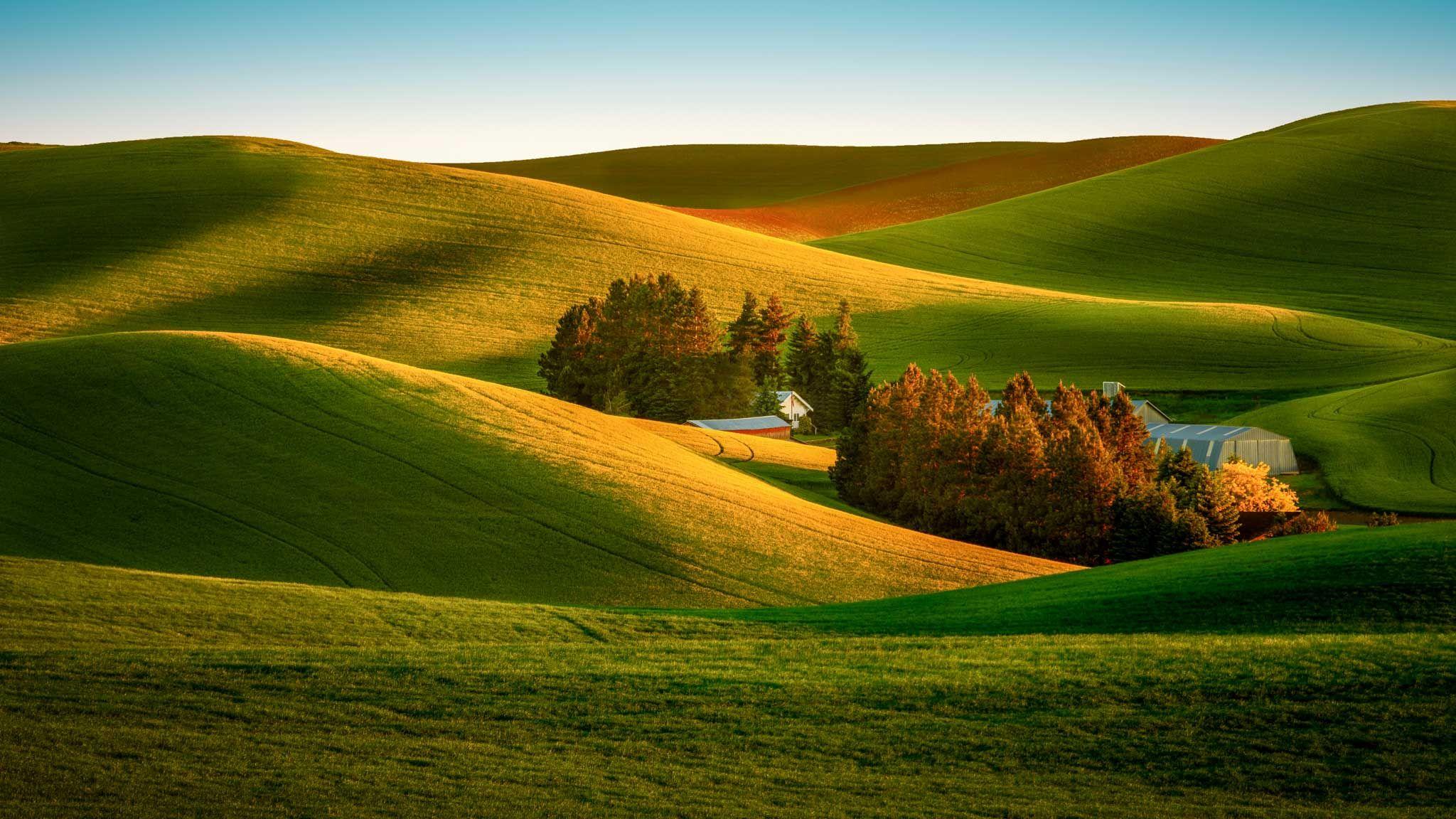 Sunrise on a small farm in the Palouse region of