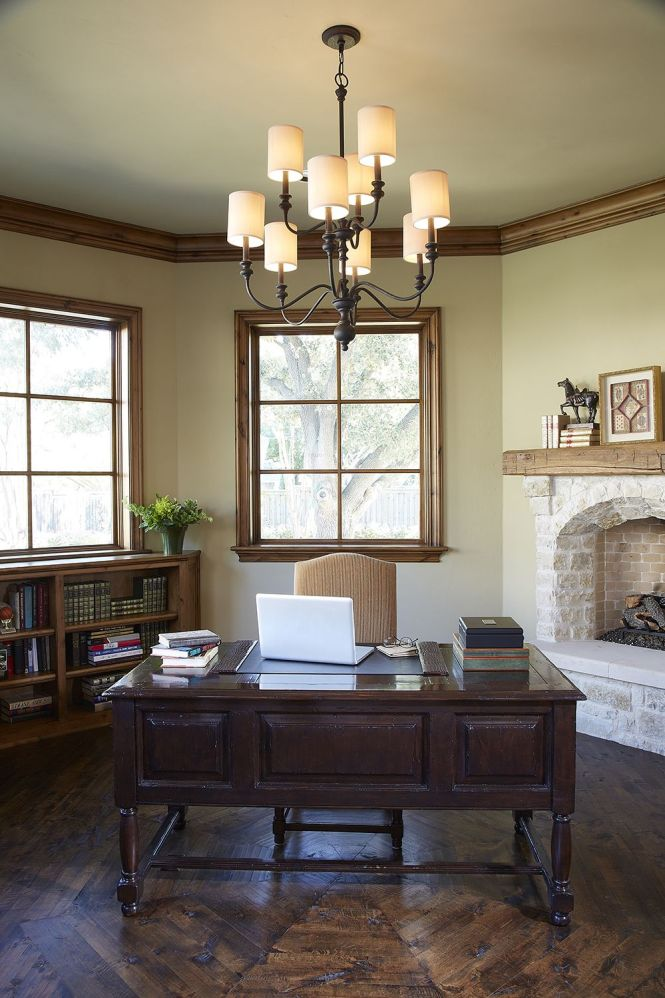 Roomoftheweek Love This Traditional Home Office Where The Jeremiah Willow Park Chandelier Adds A Contemporary