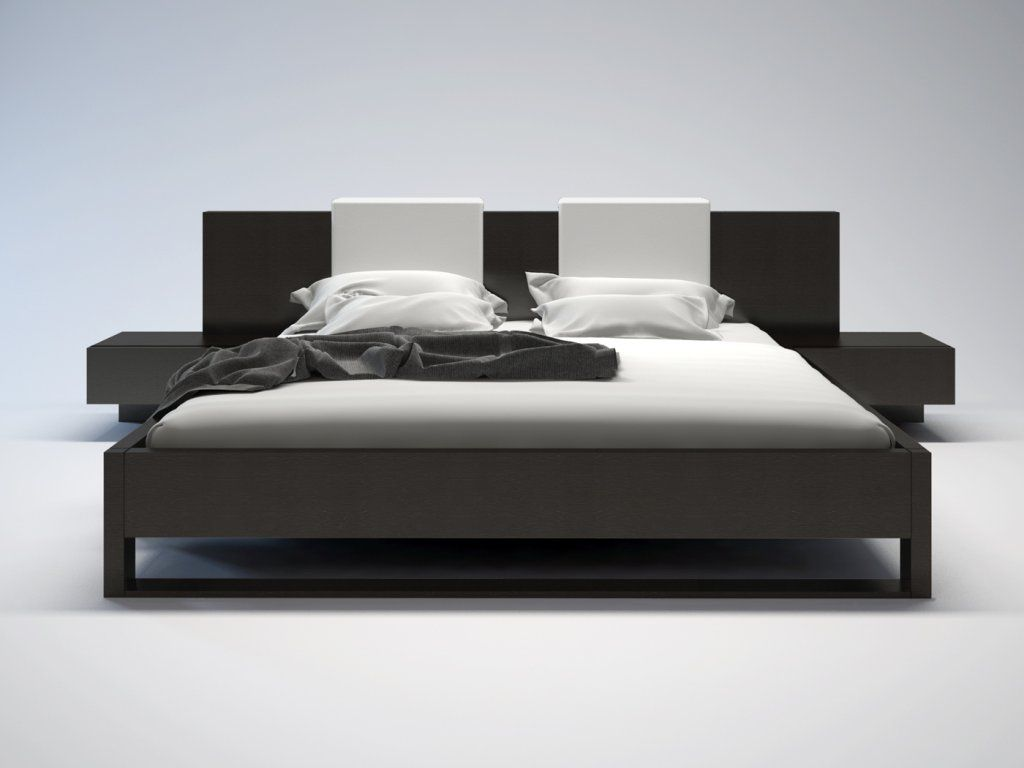 Monroe Ii White Leather King Size Platform Bed In Wenge By
