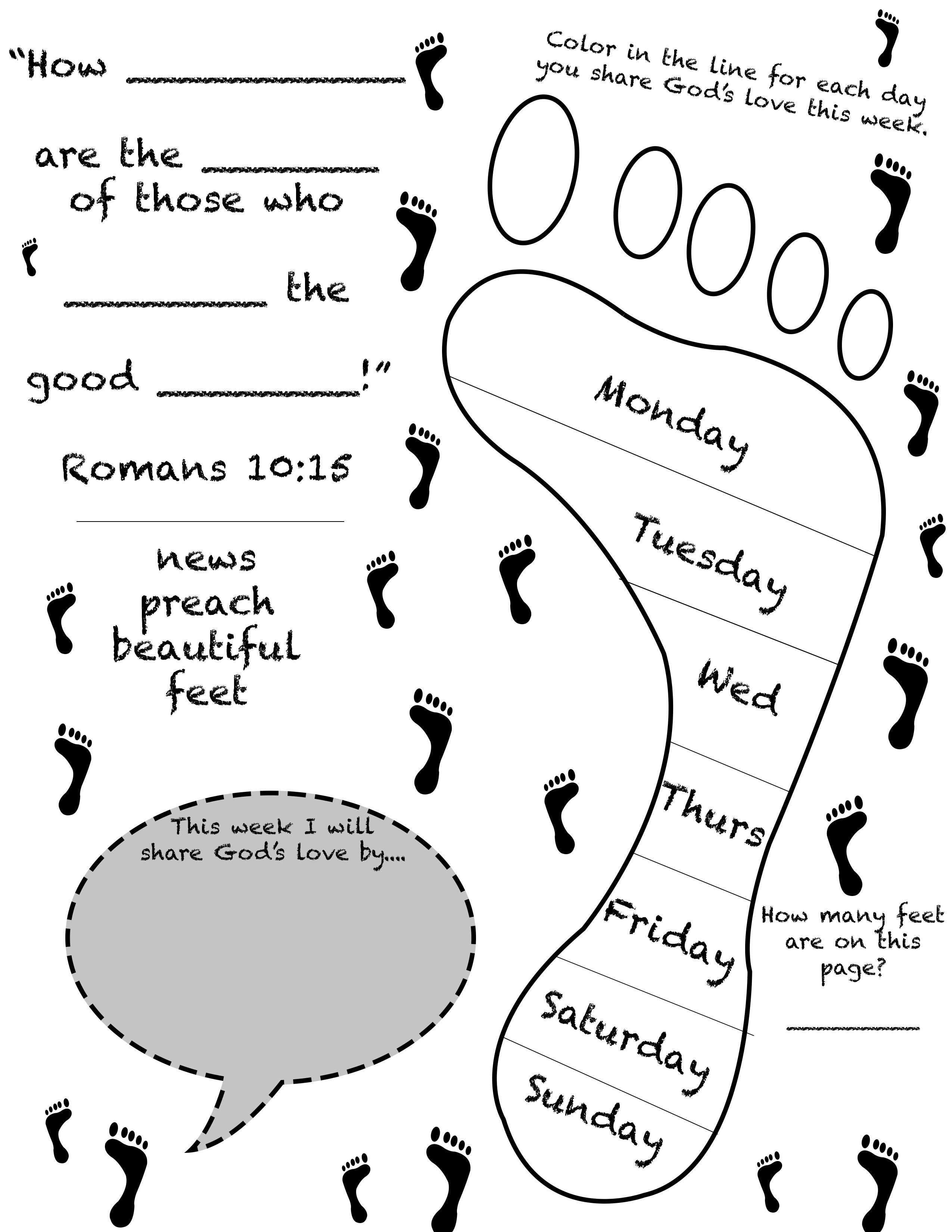 Beautiful Feet Worksheet For Children S Ministry