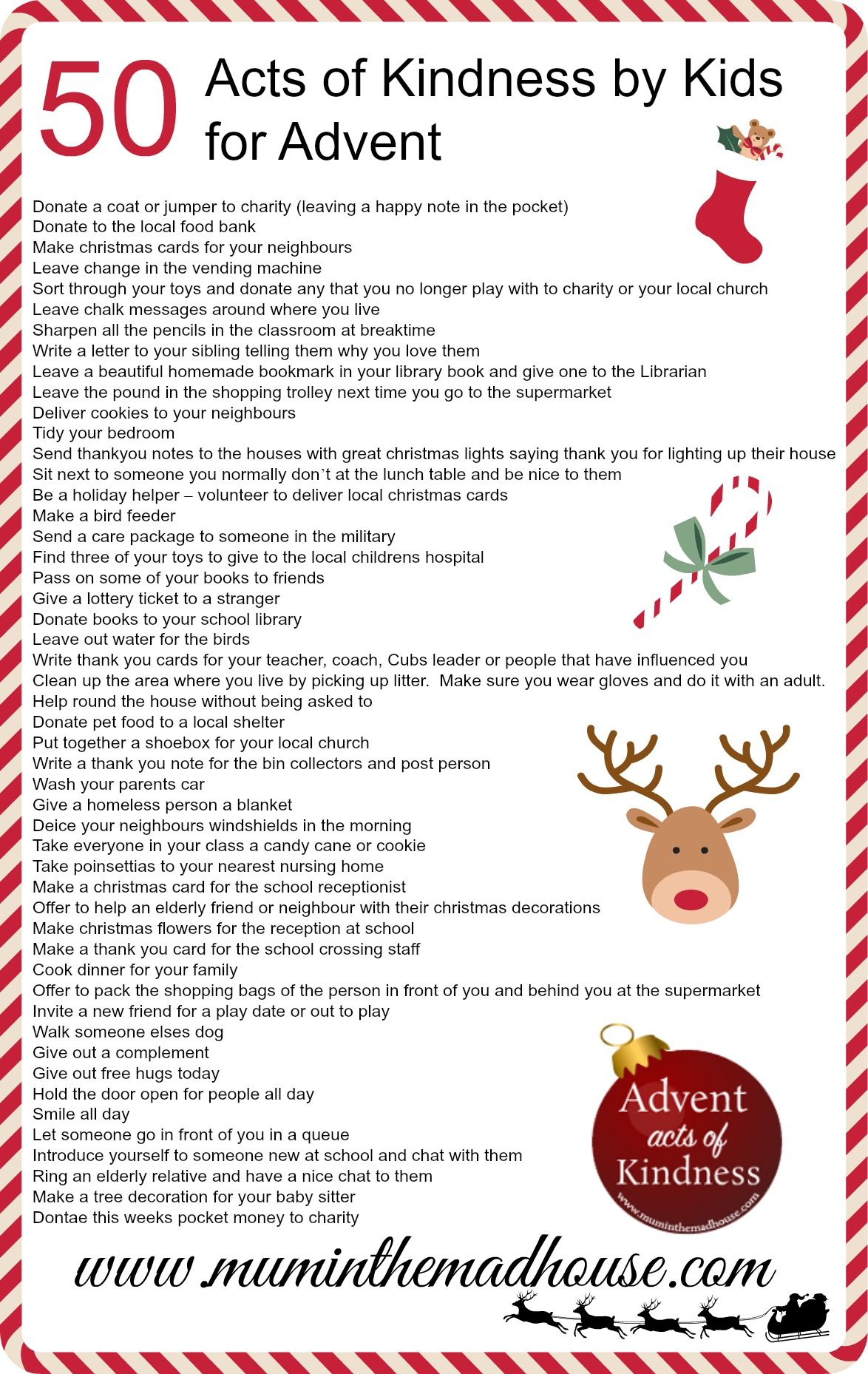 An Alternative Advent Calendar Acts Of Kindness By Kids