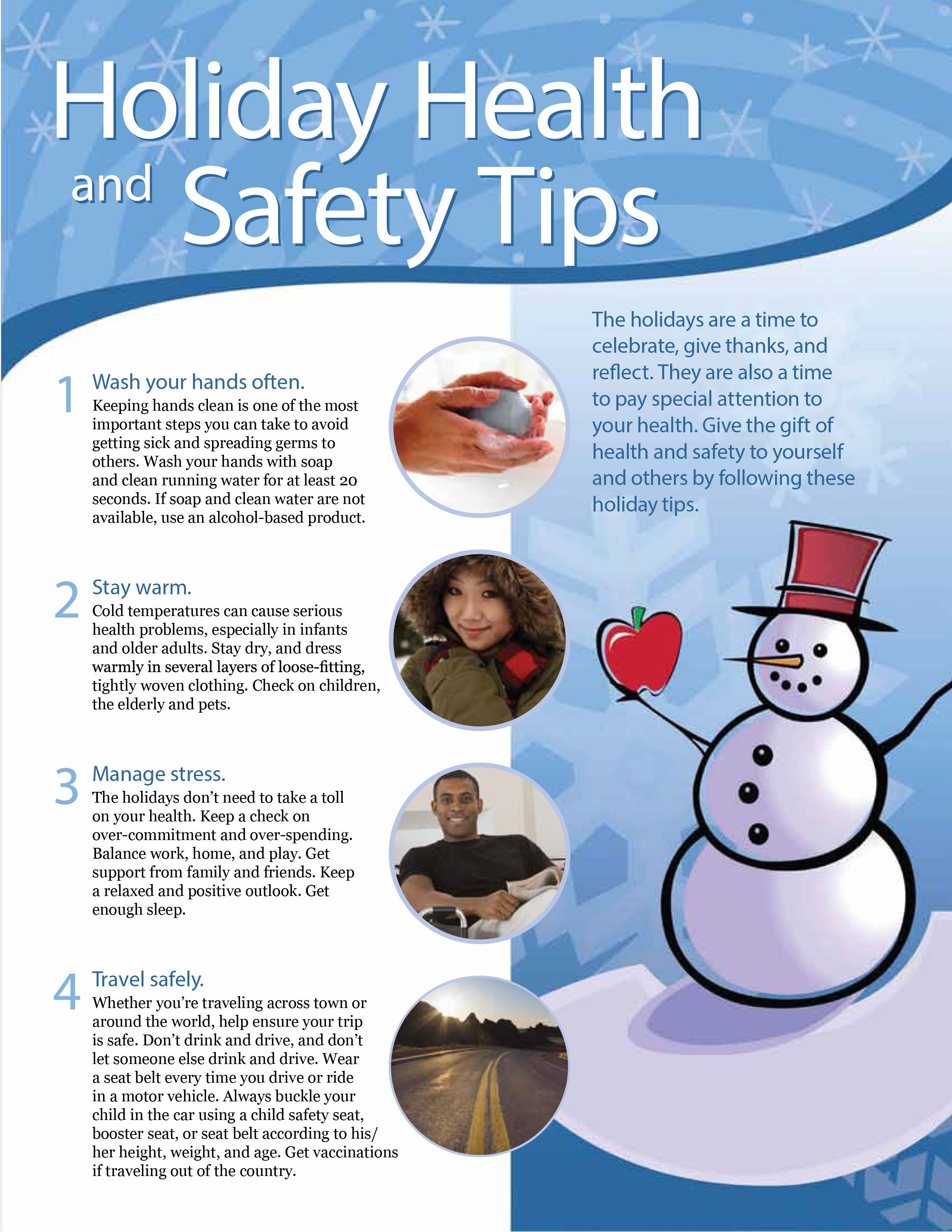 Holiday Health & Safety Tips Part1. Stay healthy this