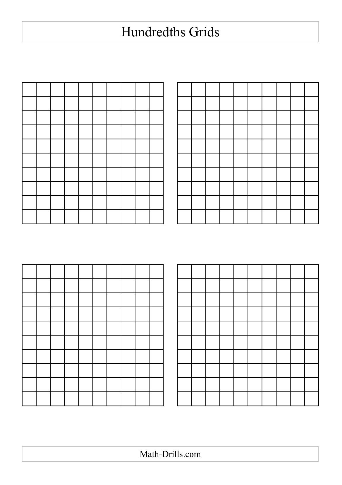 10 By 10 Grids To Add Decimals
