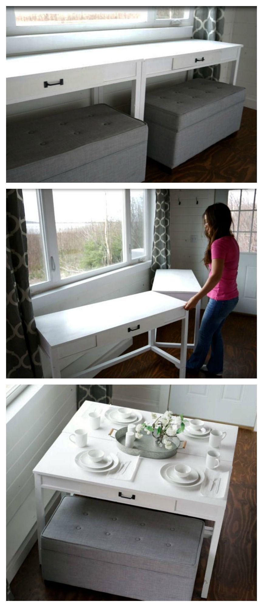 DIY Convertible DeskSpace Saving Idea Tiny houses