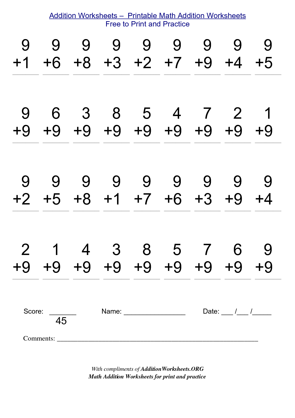 Math Worksheets For Free To Print