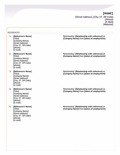 Reference Template Resume. resume employment reference letter from ...