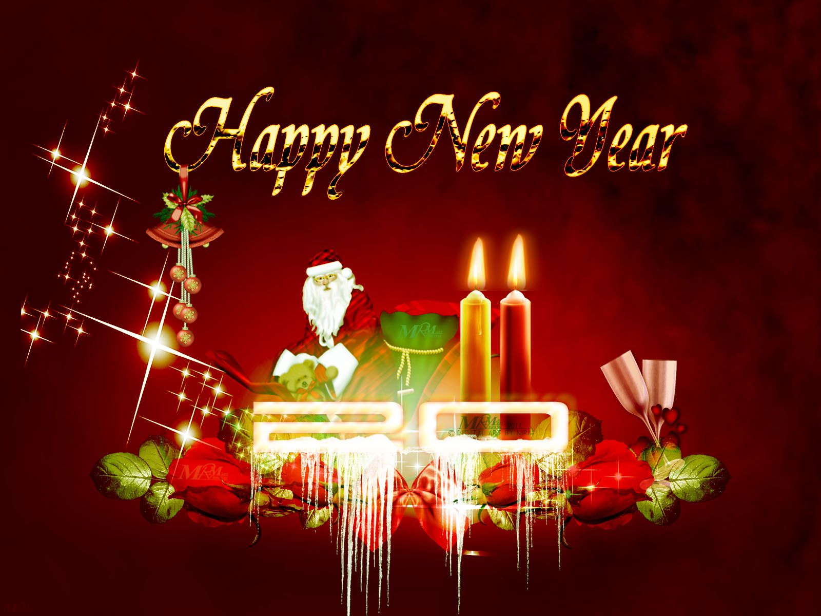 Happy New Year Greeting Card Merry Christmas and Happy